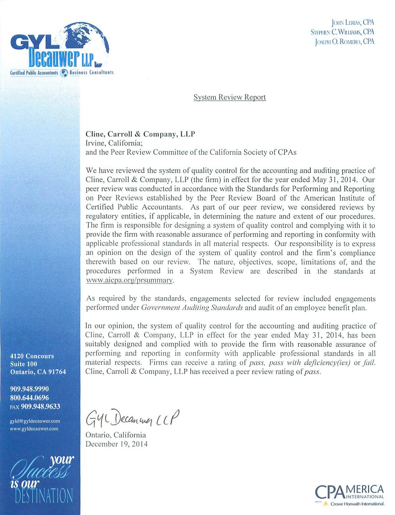 Steve greenberg irvine audit - Peer Review Report